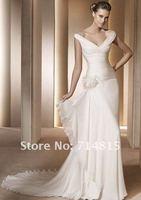 шифон с V-образным вырезом сторона - драпированные перья цветы свадебное платье размер : 6 - 8 - 10 - 12 - 16 - 18