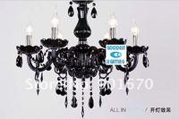 бесплатная доставка элегантность черный кристалл кулон светильник люстра с 6 абажурами приостановить свечи жилой освещение