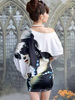 бесплатная доставка новинка лето - осень с - плечо характер летучая мышь с длинным рукавом повседневная одежда платье юбку sr083005