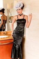платье без рукавов Ton лама, черный Seal искушение русалка платье, дамы кожа prom платье yf6114