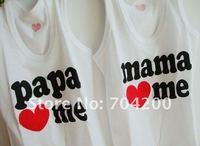 24 шт./много-детские хлопок комбинезон/девушки футболки/папа любит меня и мама любит меня хлопок футболки