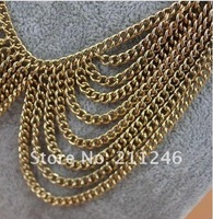 панк золотой ожерелье ювелирные изделия много - слой воротник ожерелье