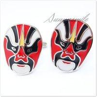 бесплатная доставка оптовая продажа и розничная белый - позолоченные запонки металла запонки мужская пекинская опера маски для лица