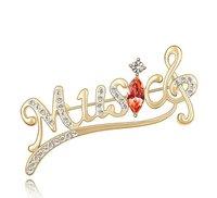 рождественский подарок кристалл брошь музыка письмо ювелирные изделия с австрийской кристалл #85248