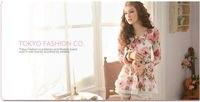 лучшие продажи! мода черный белый цвет розовыми цветами печатных женская кружевное платье + бесплатная доставка розничная и оптовая продажа