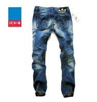 горячая! бесплатная доставка 100% хлопок тонкий европейская мода хип-хоп брюки / синие джинсы узкие брюки
