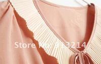 бесплатная доставка драпировка плиссированные короткая юбка шифоновое платье, питер пэн воротник платье, кукла платье