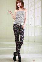 мода розы печать винтажный стиль жан тонкий карандаш с низкой талией джинсы женская