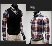 бесплатная доставка мода мужчины клетчатую рубашку тонкий подходят повседневную одежду с длинным рукавом мужчин осень зима конструктор бренд одежды