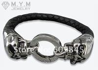 новое постулат пор мода кожаные браслеты для мужчин из нержавеющей стали ювелирные изделия продает хэллоуин подарок mb47