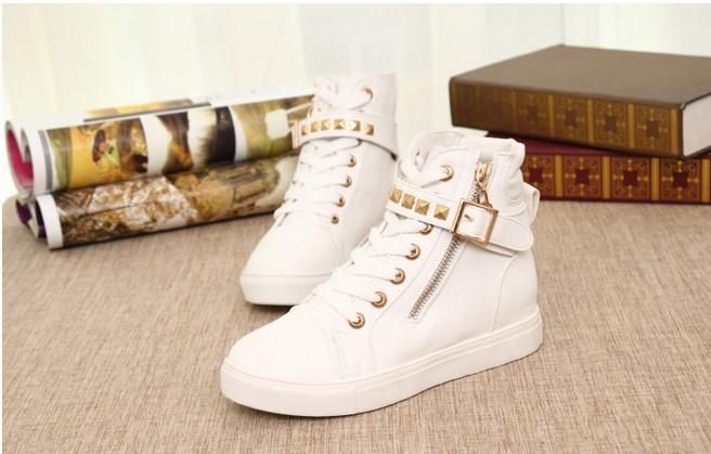 осень заклёпка высокая верхний сторона молния крючки женщины лифт обувь брезент обувь