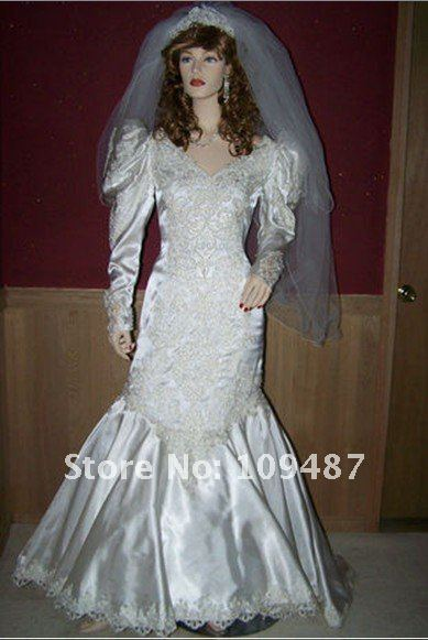 90's Satin Mermaid Style Wedding Dress