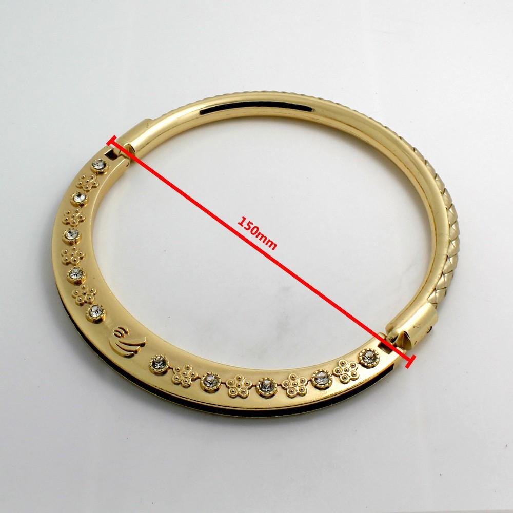 круглый ручке с цветком логотипом горный хрусталь украсить свет золотой металлической ручкой для леди сумки