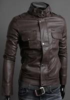 мужчины пальто вилочная часть свободного покроя длинный рукав воротник-стойка на молнии приталенный полиуретан кожа куртка пальто верхней одежды