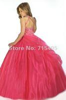 красивая холтер-линии длиной до пола бальное платье и рюшами из бисера органзы цветок платье для девочки