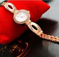 бесплатная доставка женская мода роуз горный хрусталь браслет часы оптовая продажа