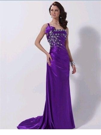 Prom Dress One Shoulder A line Purple Prom Dress Jeweled Crystal ...