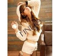 женская досуг установить шерсть широкий удобные осень костюм с длинным рукавом пальто + комплект с шортами новый бесплатная доставка 7640