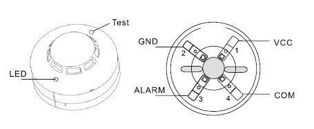 Photoelectric smoke sensor fire detector wired with NONC output for