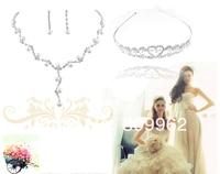 бесплатная доставка распродажа жемчуг свадьба ювелирных изделий посеребренные кристалл свадебный костюм ожерелье в форме сердца диадема мода серьги