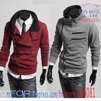 мужская куртка мульти молния дизайн двойной стоячий воротник толщиной sslim стиль пальто ja14 черный серый фиолетовый красный вино, м, L