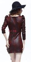 новинка качество искусственная обвинение кожи платье с длинным рукавом Regular Pool Seal дизайн 4 цветов