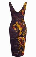 ЭМС бесплатный доставка новые женское платье с принтом вечернее платье великобритании размер