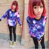 горячая распродажа покроя harajuku стиль галактика пуловер топы широкий мода говорить пальто и ППШ 9764