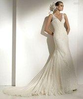 бесплатная доставка мода русалка глубокий с V-образный вырез кружева свадебное платье / рукавов сексуальное платье невесты
