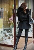 бесплатная доставка новый корея стиль дамы мода меховой стоит Chest пальто дамы суб