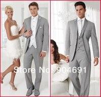 на заказ высокое качество белый серебро костюмы формальный жених смокинг для 4 шт. - пальто + брюки + жилет + галстук размер S-Размер 4xl микрофон