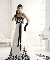 империя талии без приложение Beetle черный и белый свадебные платья 2015 элегантный длинные платья vestido де нойва