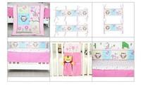 8 шт. комплект детской кроватки комплект для девочек розовый сова дизайн хлопок мультфильм одеяло + бампер + оборудованная панель + кровать юбка + подгузник укладчик