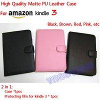 матовый искусственная кожа чехол для Амазон киндл 3 и протектор, бесплатная доставка, черный, розовый, коричневый, красный