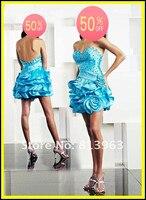 бесплатная доставка на заказ новый стиль мода сексуальное симпатичные милая мини тафта синий короткие возвращения на родину коктейльные платья