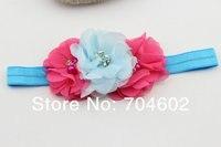продукт девочки-младенцы волос лента шифон жемчуг цветы с горный хрусталь принцесса повязка на голову 10 шт. / много fd182