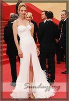 бесплатная доставка ума турман на заказ 2011 каннский кинофестиваль красный ковер атласная платье-линии без бретелек рюшами платье