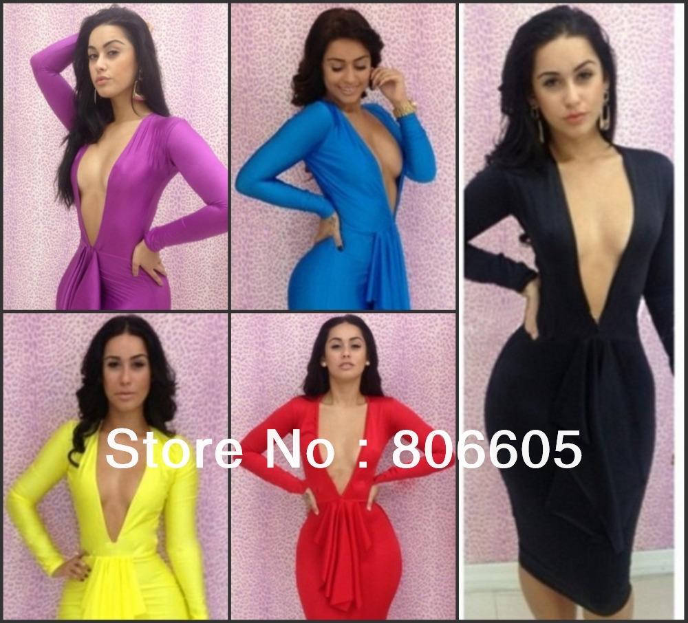 Hot Sexy Women\'s Fringe Bodycon Dresses Fashion V-...