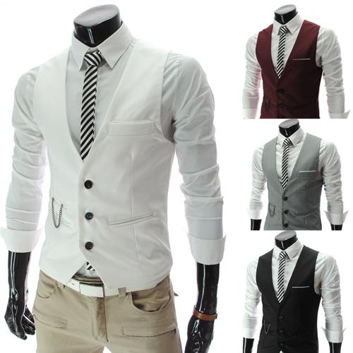 2014 new men\'s multi-colored V-neck Slim men vest ...