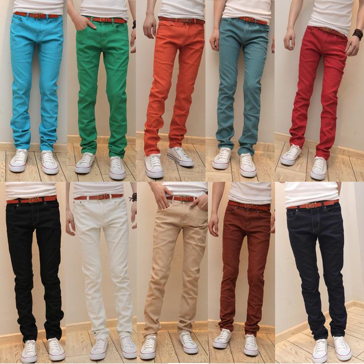 2014 spring new men\'s Slim stretch jeans denim tro...