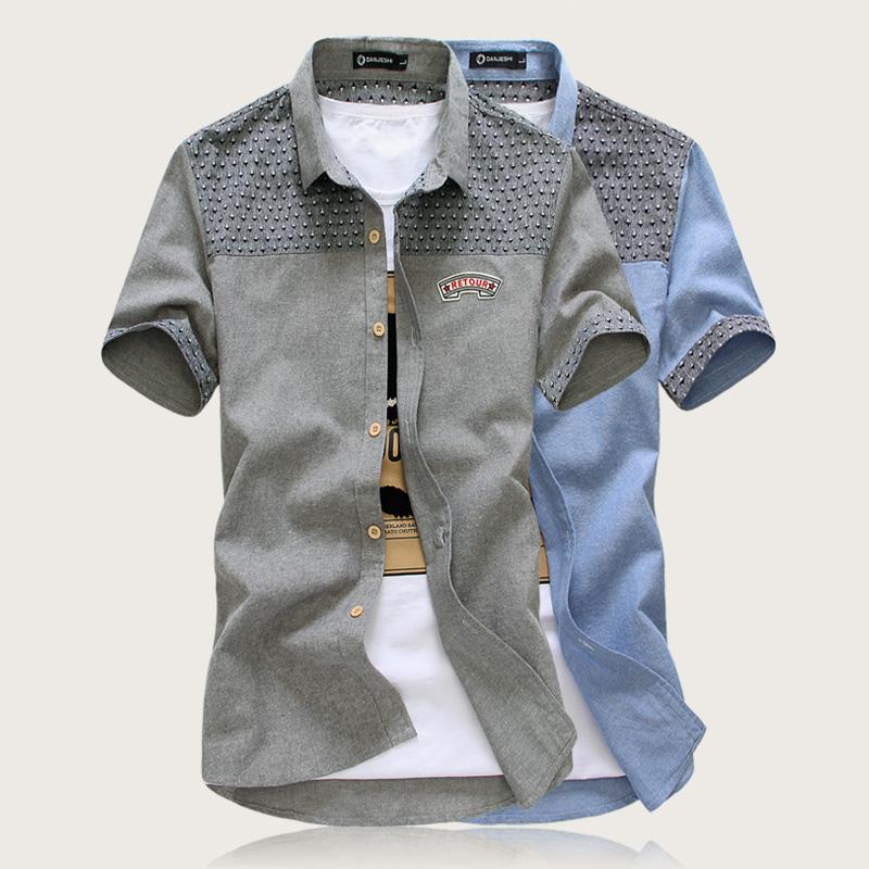 man spring 2014 casual shirt men short sleeve fash...