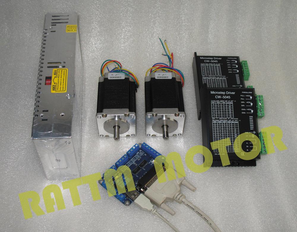2 axis CNC controller kit 2 NEMA23 308 oz-in stepp...