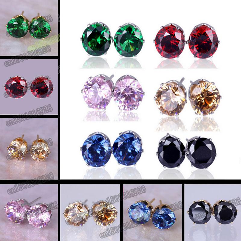 Free Shipping 8MM Colorful Shining Stud Earrings B...
