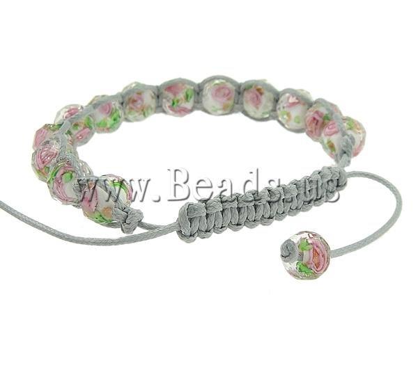 бусины lampwork шамбалы браслет, с лэмпворк бусины граненные, 8 х 10 м, продается за 7.5 - дюймов прядь