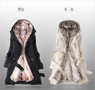 2013 women\'s wool coat winter liner trench overcoa...