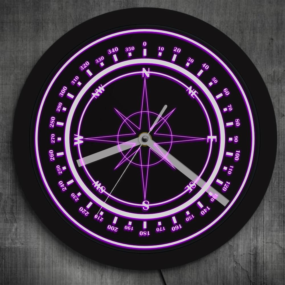 Nautical Compass Logo LED Luminous Wall Clock Retro Design Wind Rose Compass Color Changing Wall Watch Navy Marina Sailors Gifts