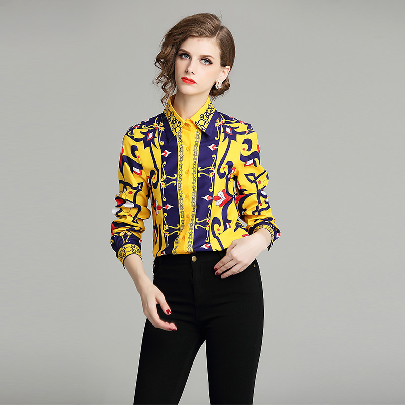 New Fashion Women's Wear Printed Slim Long Sleeve Flip-over Collar Shirt