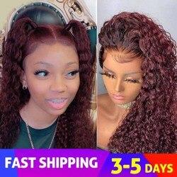 Бразильские вьющиеся темно-красные человеческие волосы Beeos 13*6 на сетке спереди, парики 99J бордового цвета, отбеленные узлы, предварительно в...