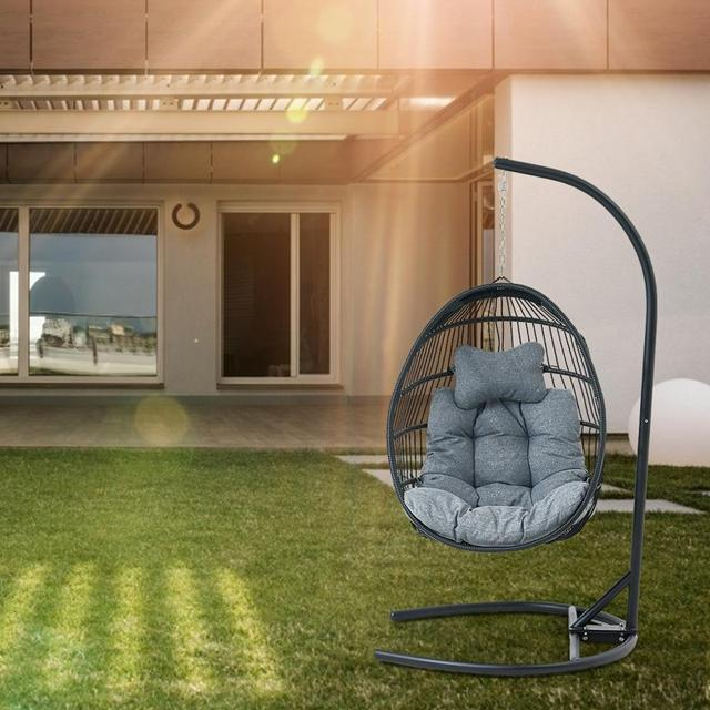 Hanging Egg Swing Chair Wicker Basket Seat with Cushion Steel Support Stand Frame for Home Patio Deck Garden Yard Backyard[US-W] 6