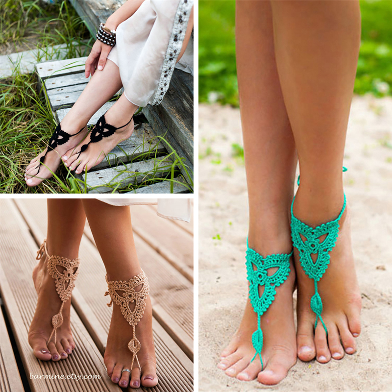 Handmade Crochet Weave Bridal Accessories Yoga Anklet Foot Accessories Sandals